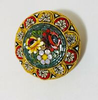 Antique Micro Mosaic Brooch from Murano Italy 1920 1 1/2 Diameter
