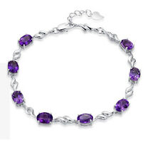 925 Sterling Silver Swarovski Element Crystal Amethyst Bracelet Chain Box