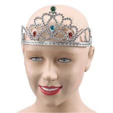 Princesa # Plata Plástico tiara + PIEDRAS DE COLORES Medieval Accesorio disfraz