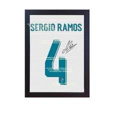 Sergio Ramos Real Madrid Camiseta Firmada Impreso En Lona Enmarcado de 100% algodón