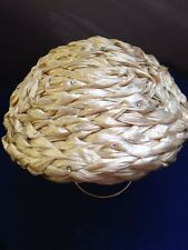 Vintage '40's Silky Braided Straw W/rhinstones On Mesh Ladies Dress/church Hat