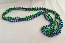 """Beautiful 3 Green and Blue Mardi Gras Bead Strand Necklace 30"""" Strand String"""