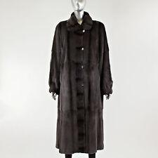 Brown Plucked Mink Fur Coat Reversible - Size S