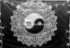 Indian Yin Yang Tapestries Mandala Wall Hanging Black And White Bedspread Throw