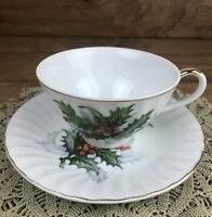 Vintage Norcrest Holly Berry Cup and Saucer Fine China X-416