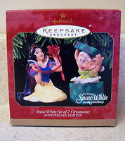 Hallmark 1997 Snow White Set of 2 Ornaments, Anniversary Edition - Disney