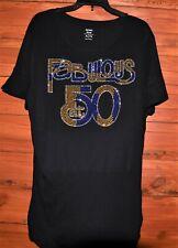 50 & Fabulous Birthday Rhinestone shirt  S M L XL XXL1X 2X 3X 4X 5X gold & blue