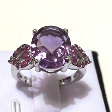 5 ct TW Genuine Amethyst & Ruby in Rhodium Plated 925 Solid Silver Ring # R.1/2