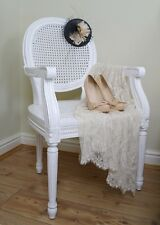 French Chateau Louis White Rattan Dining / Bedroom Arm Chair