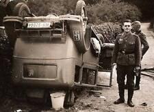 WWII B&W Photo German Soldiers Wrecked Car WW2  World War Two  Wehrmacht  / 2026