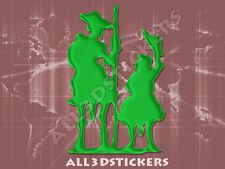 Pegatina Don Quijote y Sancho Panza 3D Relieve - Color Verde