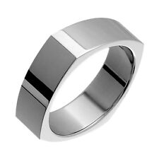 Wide Engagement Band for Him N Her Squared Style Titanium Rings Comfort Fit 7mm
