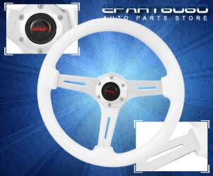 "Universal 345mm 6-Bolt Jdm Vip 2"" Deep Dish White Wood Grain Steering Wheel Unit"