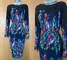 Phase Eight UK 20 Black Kris Floral Placement Print Long Sleeve Pencil Dress 48