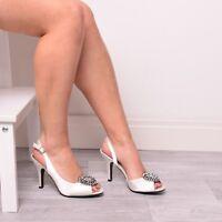 Ladies Womens Wedding Shoes Bridal Bridesmaid's Prom Diamante Ivory Shoes Size 4