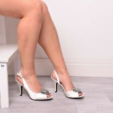 Ladies Womens Wedding Shoes Bridal Bridemaids Prom Diamante Ivory Shoes Size