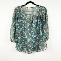 Urban Outfitters Pins & Needles Women's Floral Print 3/4 Sleeve Blouse Tie Sz M