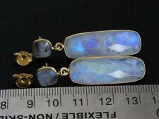 18k Gold Plated Over Silver White Moonstone Gemstone Earrings