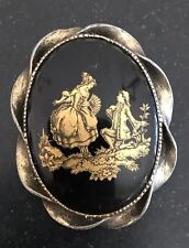 Courting Couple Gold Onyx Black Cameo Brooch Pendant Pin Vintage 2""
