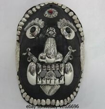 Nepal Resin Copper Handwork inlay Ruby Gem Carced Lucky Black Head Mask