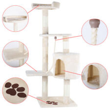 "46"" Cat Tree Bed Furniture Scratching Tower Post Condo Kitten Pet House Beige"