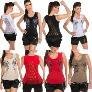 ♥ SeXy Miss Damen Shirt Flügel Print Top High Low STRASS SPITZE Rücken 34/36/38