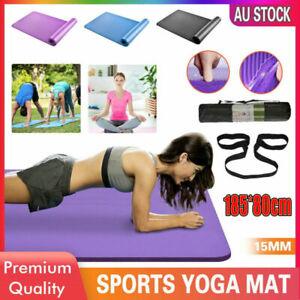 NBR Yoga Mat 185x80x15cm Thick Pad Nonslip Exercise Fitness Pilate Gym Mesh Bag