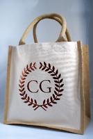 Personalised Custom Initials Midi Size Jute Shopping Tote Bag Shopper
