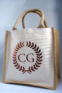Personalised Custom Initials Midi Size Jute Shopping Tote Bag Shopper