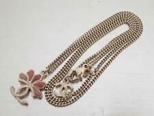 Auth CHANEL CC Logo Pendant Chain Necklace Pink/Goldtone Enamel/Metal - e43929