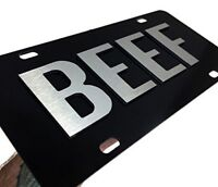 BEEF Aluminum Metal CHROME On Black License Plate Tag Farmer Cattle Truck Car