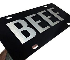 BEEF Aluminum Metal CHROME On Black License Plate Tag Farmer Cattle Truck Car