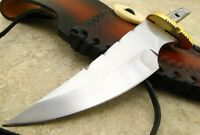 "4 3/4"" Knife Making Blade Blank w Brass Guard and Custom Leather Sheath"