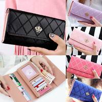Women Quilted Crown Clutch Long Purse PU Leather Wallet Card Holder Handbag Girl