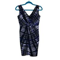 Banana Republic Silk Cotton Lined Plaid Career Dress Blue Black V Neck Size 2
