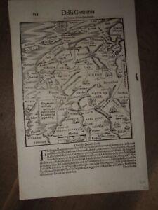 1544 MAP of FRISIA OCCIDENTALE by SEBASTIAN MUNSTER - DELLA GERMANIA GRONINGEN