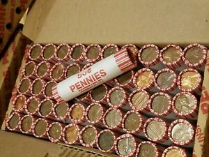 1 Box of 50 Rolls 95% Copper Pennies 1982 & Older. Lincoln Memorial Cents ++