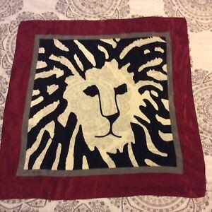 """""""Lion Face"""" Anne Klein Vintage 100% Silk Scarf 34 X 34"""" Inches"""