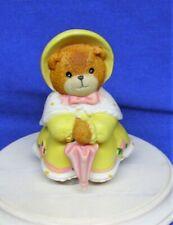 Enesco Lucy & Me Figurine Teddy Bear Easter Dress Hat Umbrella 1990 Lucy Rigg