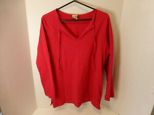 LL Bean Womens Large Pullover Shirt Long Sleeve Peruvian Cotton