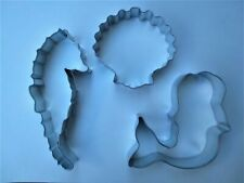 Mermaid (New Shape) Cookie Cutter  3pc Set Seahorse Clam Shell