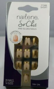 Nailene So Chic Gel Shine Nails 71348 Short Nude 28 Count Pre-Glued Comfort Fit