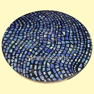 48 x 48 Inches Marble Conference Table Top Patio Dinning Table with Mosaic Art