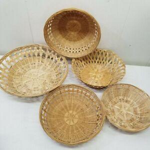 5 Wicker Rattan Baskets Wall Decor Country Farmhouse Chic Grannycore Cottagecore