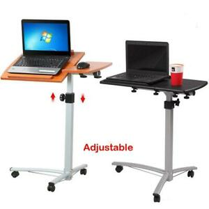 Over The Bed Table With Wheels Adjustable Hospital Home Laptop Tray Rolling