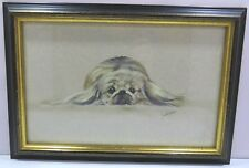 Framed Signed Small Janet Payne Painting of a Spaniel Dog