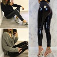 Women Ladies Slim High Waisted Wet Look Shiny Leggings Pants Bodycon Trousers