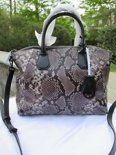 NWT Michael Kors Large Campbell Python Embossed Convertible Satchel- Steel Gray