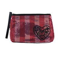 Victoria's Secret Makeup Bag Wrislet Pink Sequin Striped Love Handbag New Vs Nwt