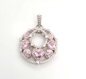 Designer Judith Ripka Sterling Silver Diamonique Pink CZ Filigree Dangle Pendant